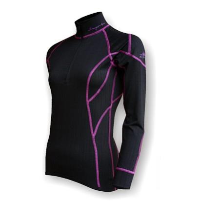 908ef83136d VÝPRODEJ - Dámské funkční triko dlouhý rukáv-stoják se zipem černá fialová  Thermocool